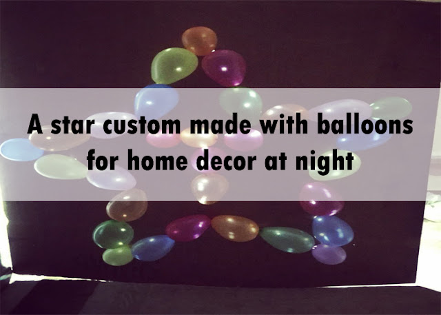 A star custom made with balloons for home decor at night