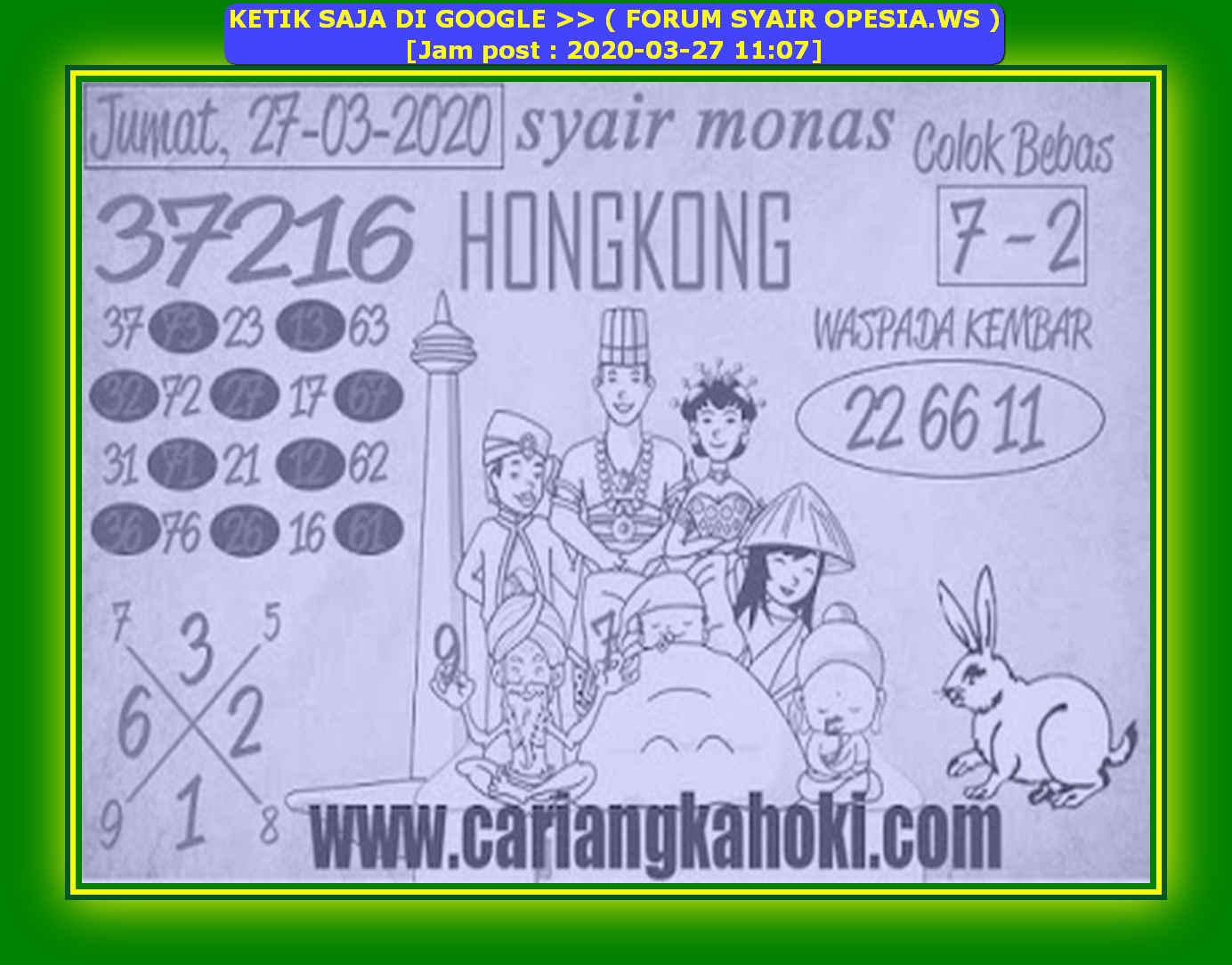 Kode syair Hongkong Jumat 27 Maret 2020 164