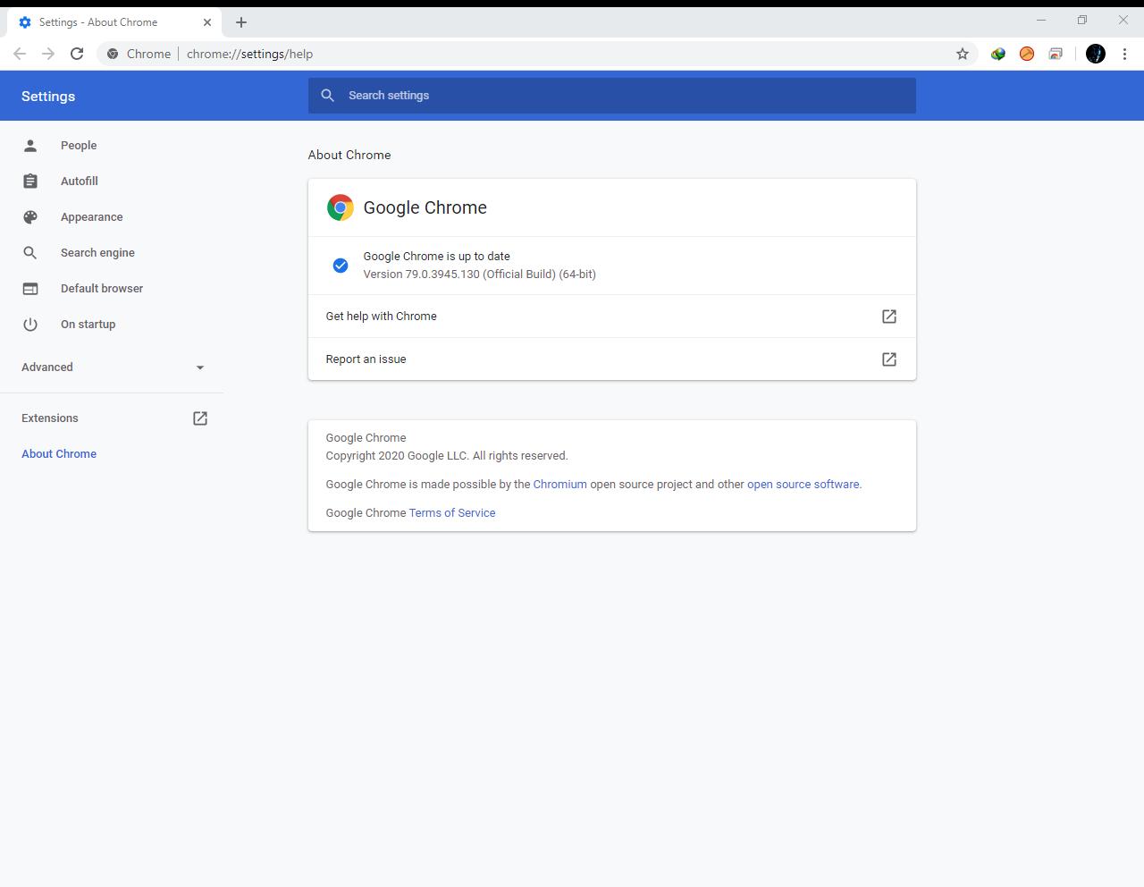 Google Chrome Browser 79.0.3945.130