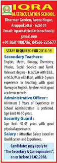 IQRA Matriculation School Wanted PGT Teachers