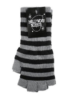Emo goth fingerless black and gray striped gloves