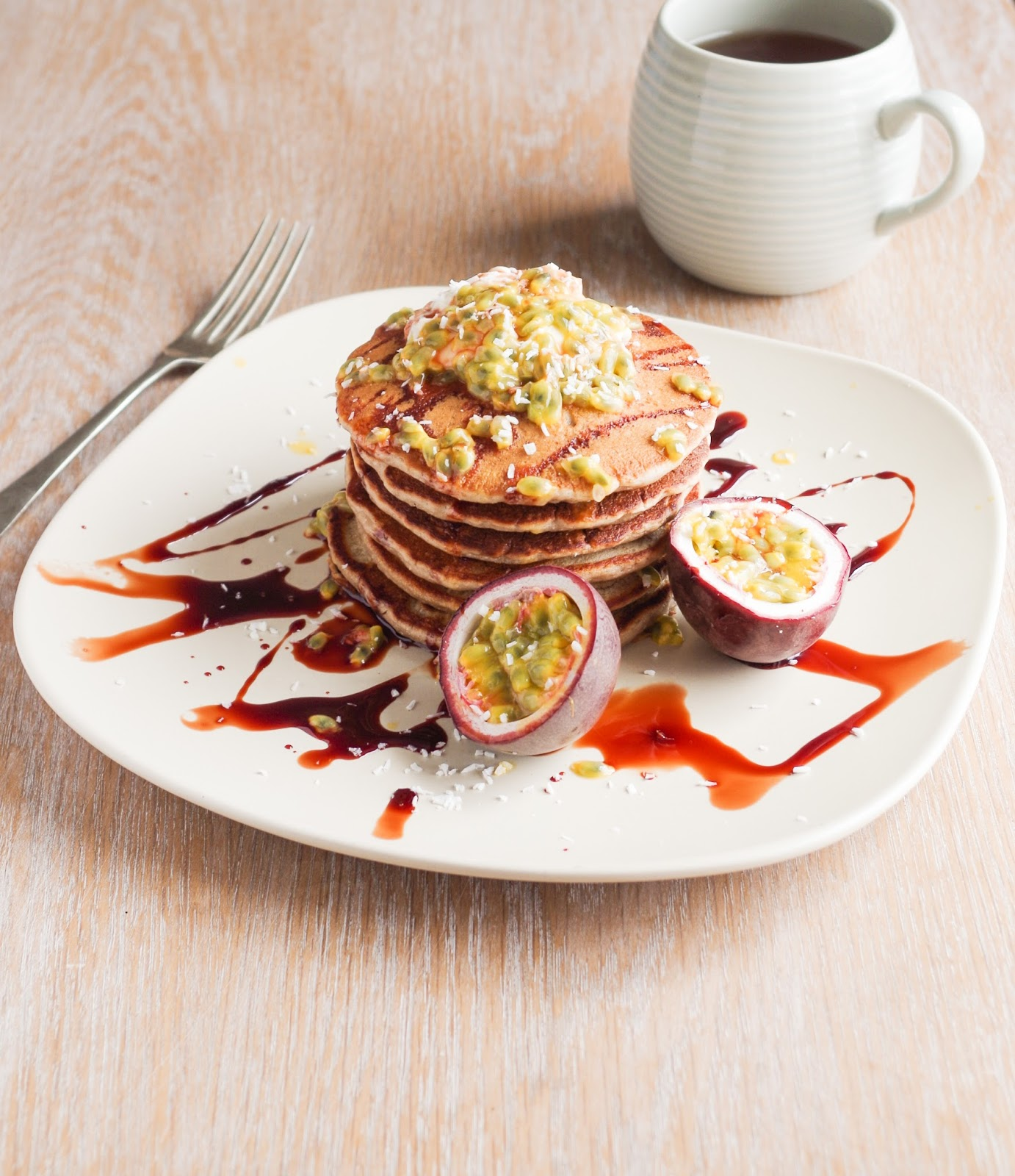 Banana coconut pancakes with passion fruit euphoric vegan pancakes the perfect weekend breakfast food all fluffy and delicious topped with fruit and syrup the best thing about pancakes is that you can make them ccuart Choice Image