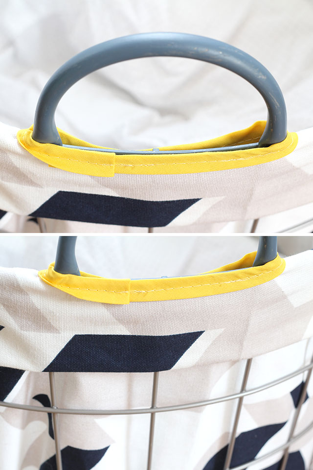 Holes for the basket's handles double as handles for the bag!