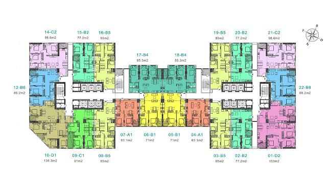 Mặt bằng tổng thể tòa River-1 tầng 37-38 chung cư EuroWindow River Park