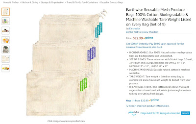 Screenshot of Earthwise Reusable Mesh Produce bags from Amazon. https://trimazing.com/