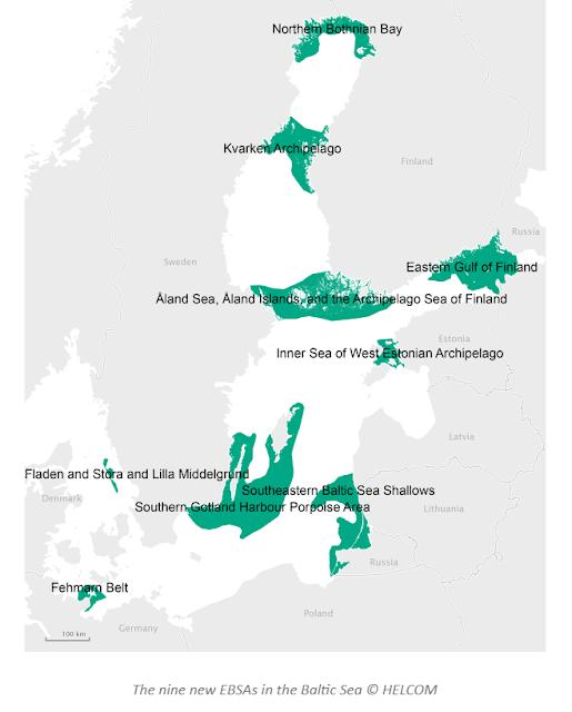 Itämeren kartta, johon merkitty tärkeät 9 aluetta.