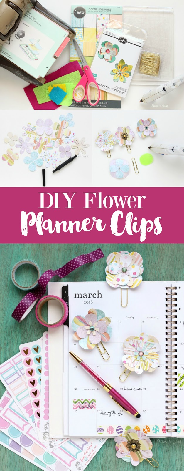 DIY Flower Planner Clips: Make cute floral planner clips from paper! An easy way to add personality to your planner. | www.pitterandglink.com