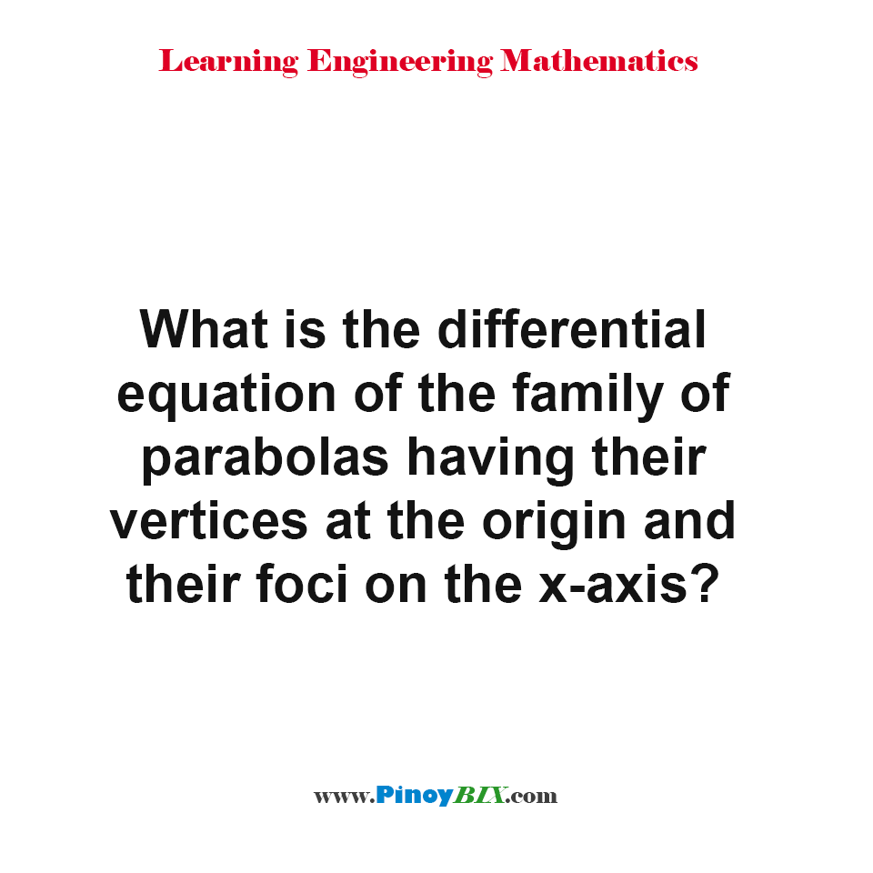 What is the differential equation of the family of parabolas?