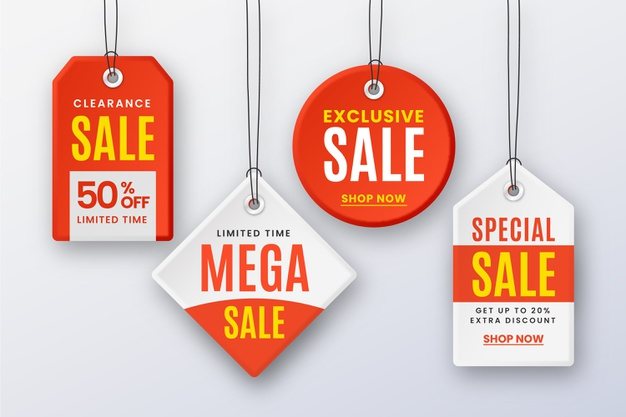 Realistic hanging sales label collection Free Vector