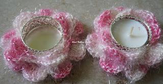 free crochet tea light candle holder pattern, free crochet rose motif pattern, free crochet floral tea light holder pattern