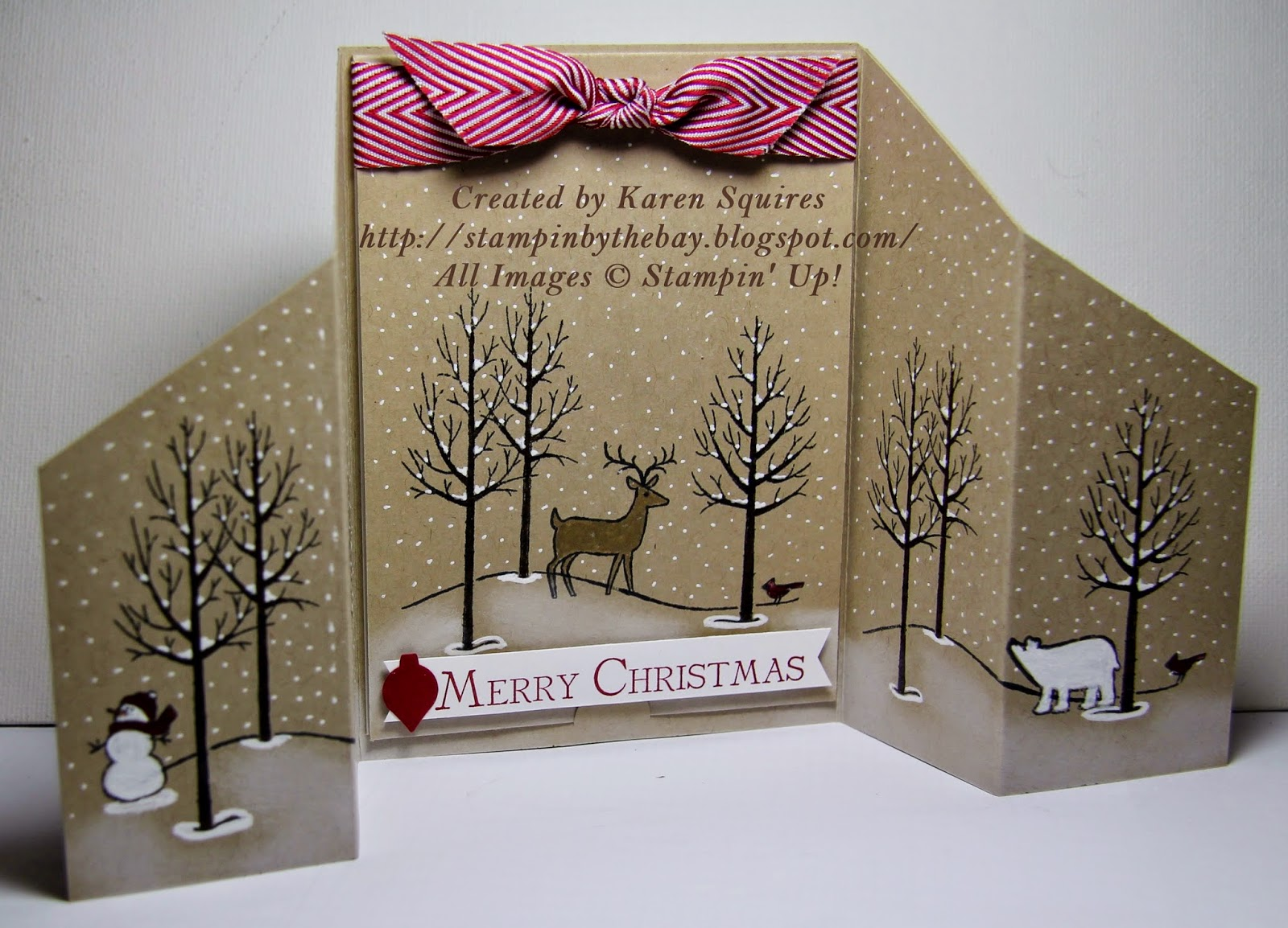Stampin\' By The Bay: White Christmas Stand Up Card
