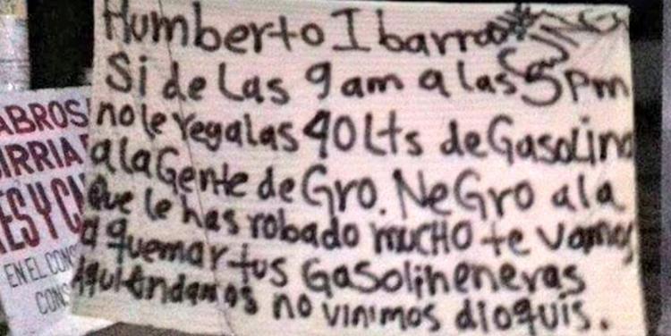 ¡Narcomanta en gasolinera de Baja California Sur! – exige #CJNG que regale combustible a usuarios