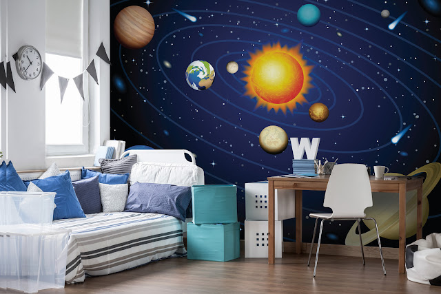 space themed bedroom wall mural