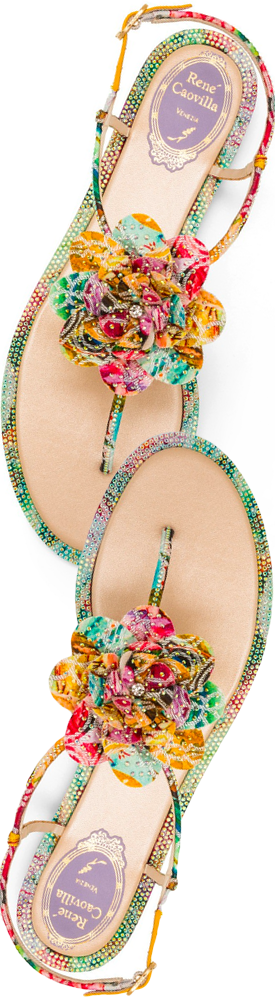 Rene Caovilla ROSA STRASS FLIP THONG SANDAL AND FLOWER APPLIQUE