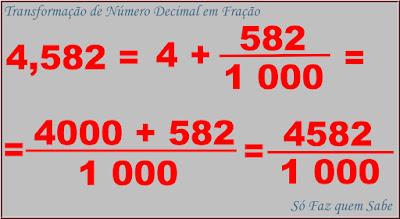 Exemplo da transformação de um número decimal em fração decimal