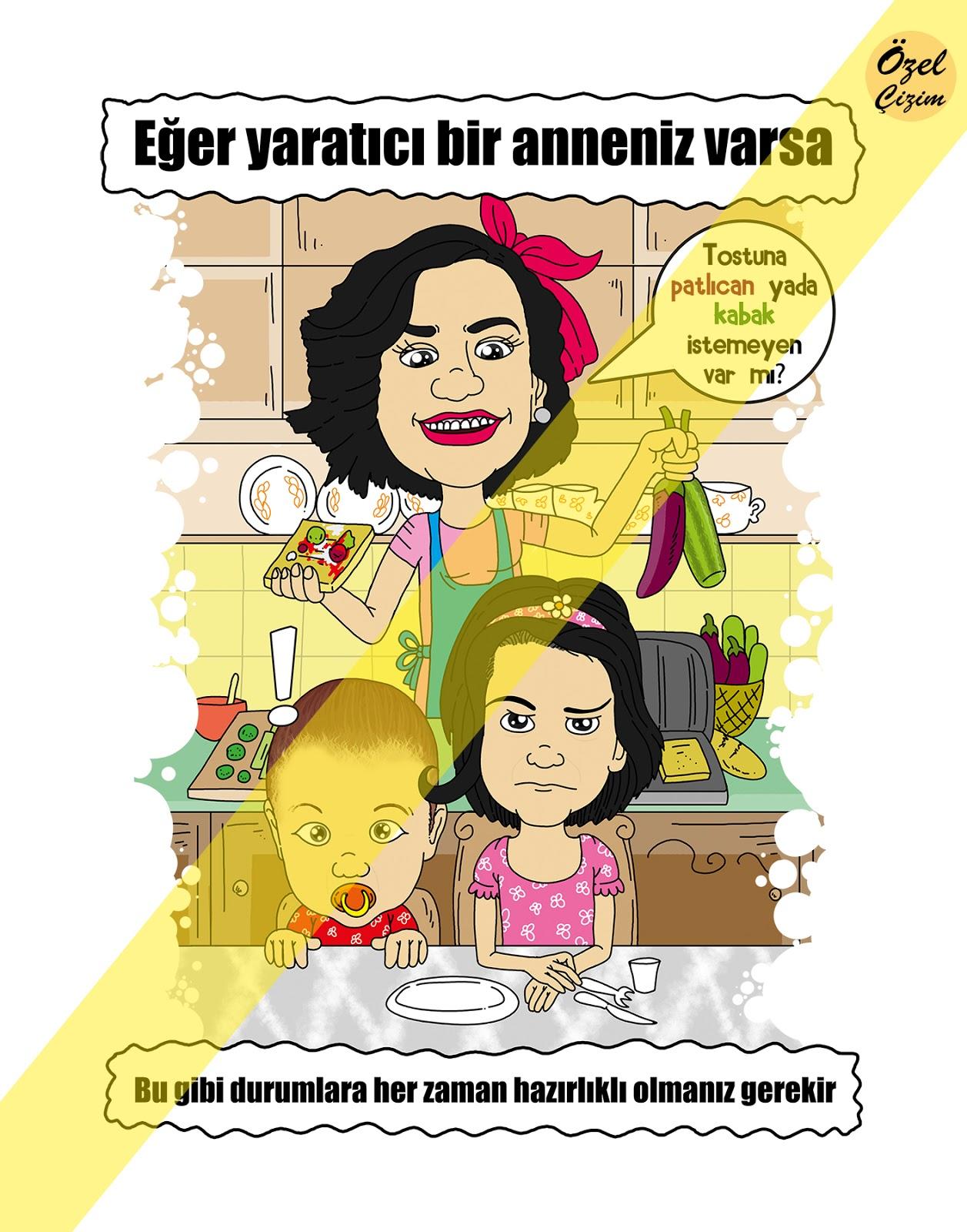 anneler günü için hediyeler, Anneler Günü, baskılı tişört,tişört,hediye tişört,komik hediye, sıradışı hediyeler, şaşırtıcı hediyeler, özel çizim, karikatür portre, Hediye Karikatür, anne, yemek yapan anne, tost yapan anne, anne ve çocukları