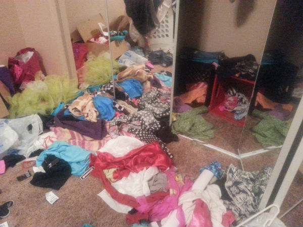 My girls dressup and do cosplay a lot. Messy floors are the result. #singlemomstruggles www.heartofmichelle.com
