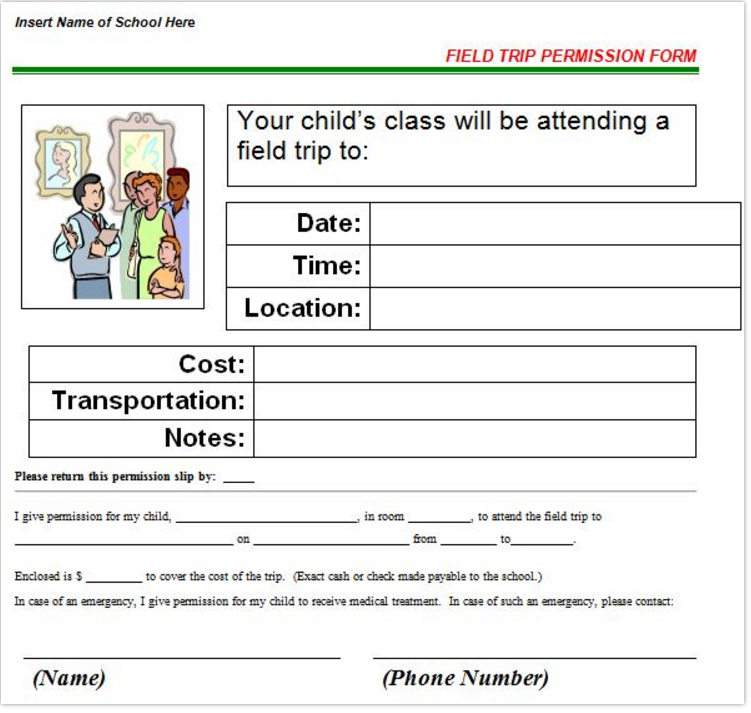 Need To Create A Permission Slip Or Field Trip Letter Try Template Lab Has 30 Templates