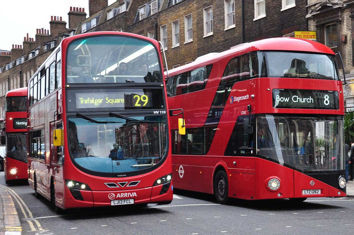 Double-decker buses, London, England