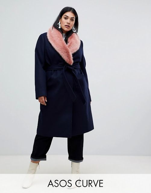 ASOS DESIGN Curve faux fur collar coat with tie belt €54.99