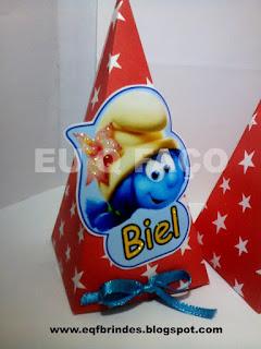 caixinha pirâmide smurfs, lembrancinha smurfs, brinde smurfs, tema smurfs, festa smurfs, os smurfs,smurfs