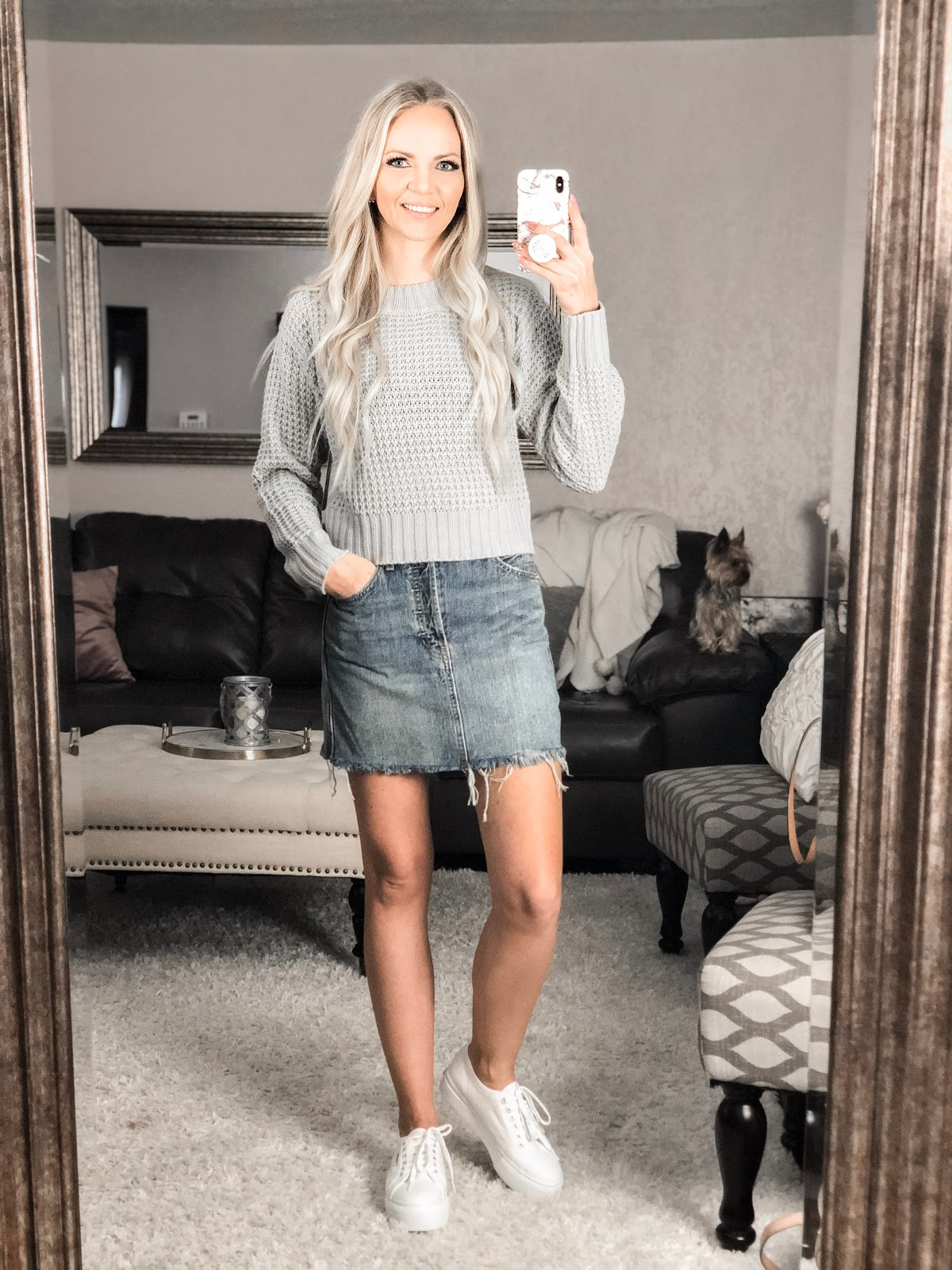 Spring Summer Outfit Idea Sweater Skirt Denim Mini Skirt Superga White Platform Sneakers Wrap Sweater BlankNYC Denim Distressed Reade Free People Leopard Mule Heels Nude Block Heels White Long Sleeve Lace Dress Wedding Bride Bridal Shower Rehearsal Dinner Jumpsuit Valentines Day Outfit