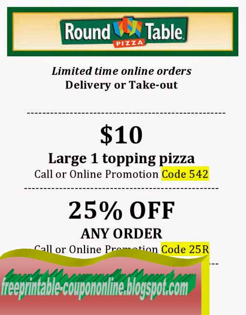 Printable Coupons Pizza Inn Coupons - Round table pizza coupons 25 off