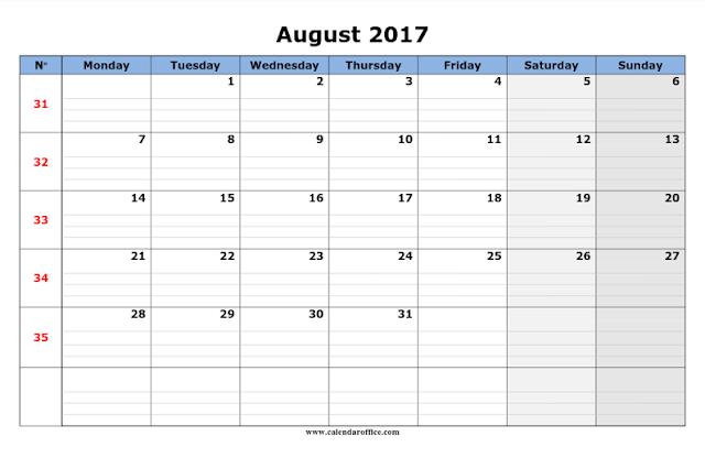 August 2017 Printable Calendar, August 2017 Calendar, August 2017 Calendar Printable, August 2017 Calendar Template, Free August 2017 Calendar, August Calendar 2017