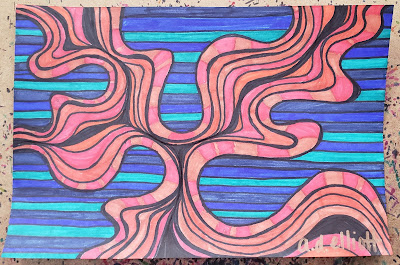 A pen and ink doodle meditation in oranges and blues and a blurb about stymie and sudd.