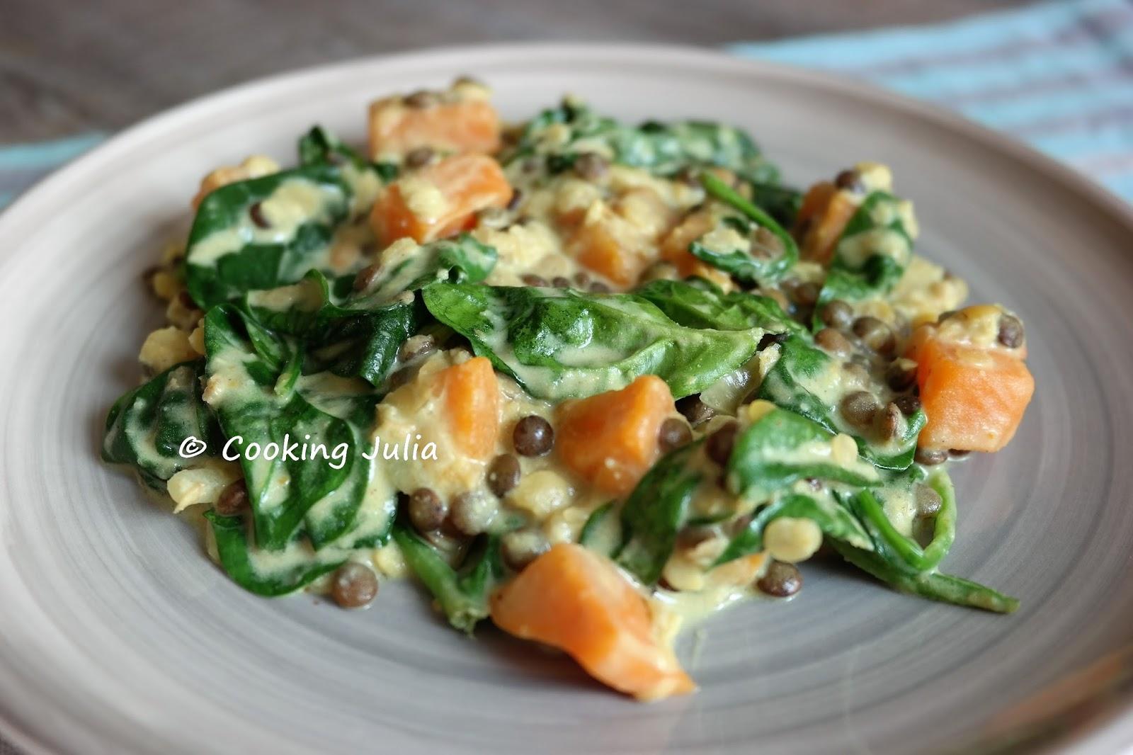 Cooking Julia Curry De Lentilles Epinards Et Patates Douces Au