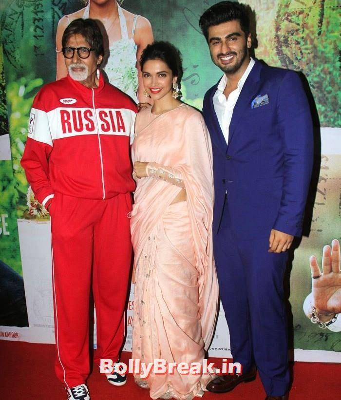 Amitabh Bachchan, Deepika Padukone, Arjun Kapoor, Deepika Padukone in Beige Colur Saree for 'Finding Fanny' Screening