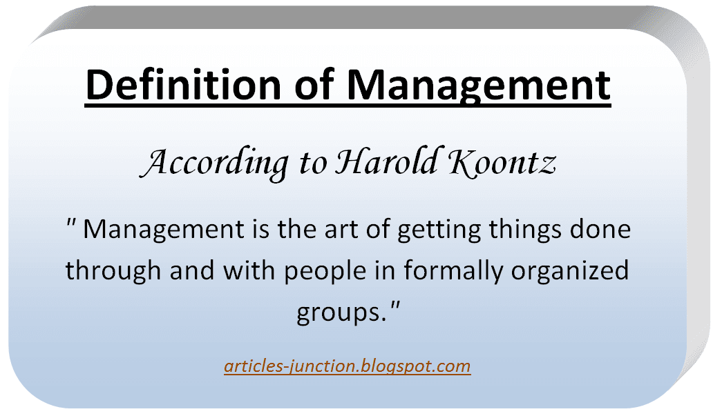 Definition of Management by Harold Koontz