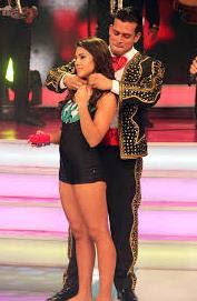 Foto de Christian Domínguez y Vania Bludau en el programa de Combate
