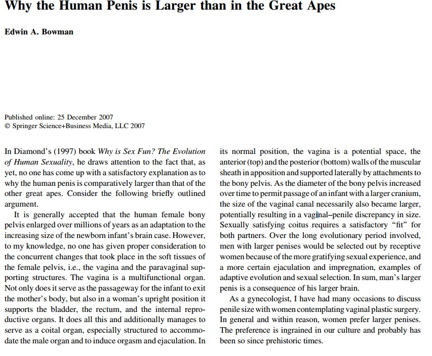 It Starts Out Giving The Only Vagina Size Based Not To Mention Childbirth Based Explanation For Human Penises That I Can Find In The Literature Which Is