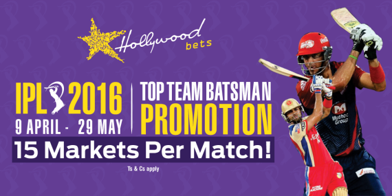 "Hollywoodbets IPL Promotion ""Top Team Batsmen"" banner and link to promotion page as well as images of IPL players"