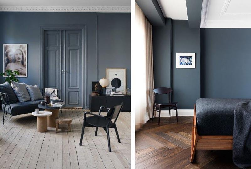 pareti colore blu scuro