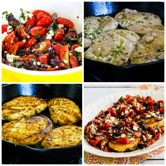Sauteed Greek Chicken with Tomato, Olive, and Feta Topping found on KalynsKitchen.com