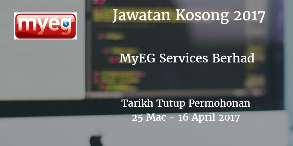 Jawatan Kosong MyEG Services Berhad 25 Mac - 16 April 2017