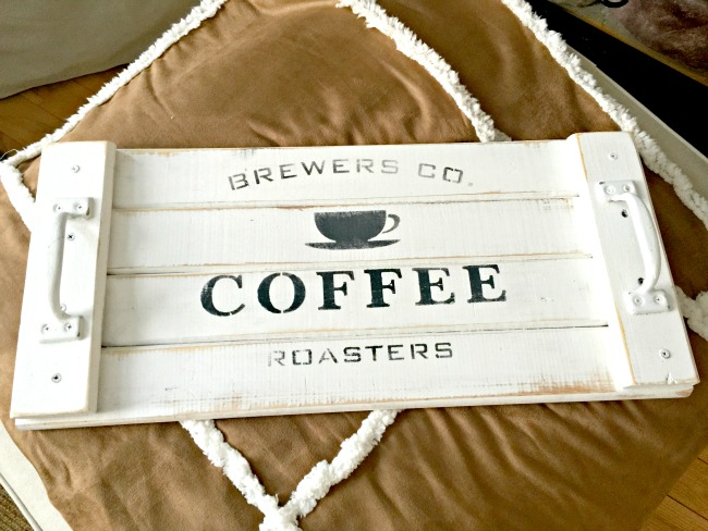 White rustic tray with coffee stencil