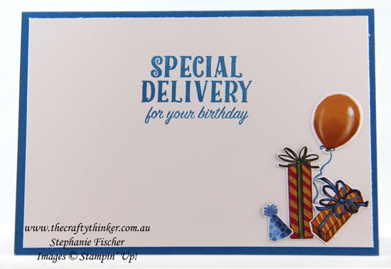 #cardmaking, rubberstamping, Birthday Delivery Suite, Boy's birthday card, Retro card, #thecraftythinker, Stampin Up Australia Demonstrator, Stephanie Fischer, Sydney NSW
