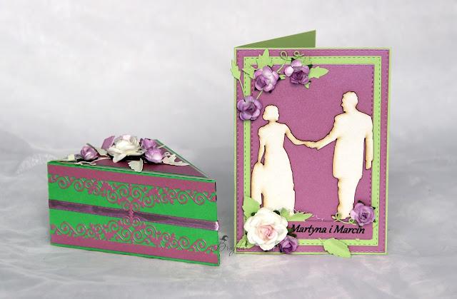 kartka ślubna, papierowy tort, pomysł na prezent na wesele, tort z różami, jak zapakować prezent na wesele, inspiracje weselne