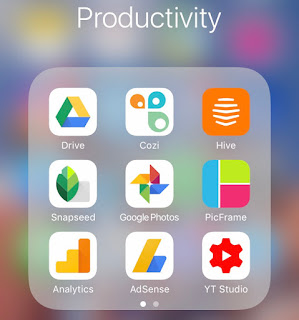 Screenshot from the iPhone showing 9 apps in a productivity folder