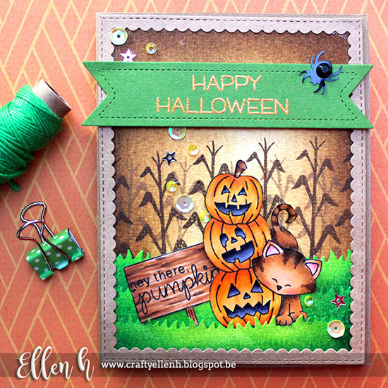 Inky Paws Challenge #36 Halloween | Halloween card by Ellen H | Newton's Boo-tiful Night Stamp set by Newton's Nook Designs #newtonsnook