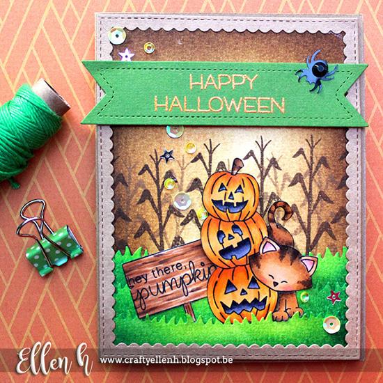 Inky Paws Challenge #36 Halloween | Halloween card by Ellen H | Newton's Boo-tiful Night Stamp set by Newton's Nook Designs #newtonsnook