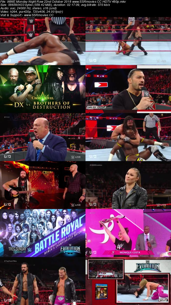 WWE Monday Night Raw 22nd October 2018 Full Show Download