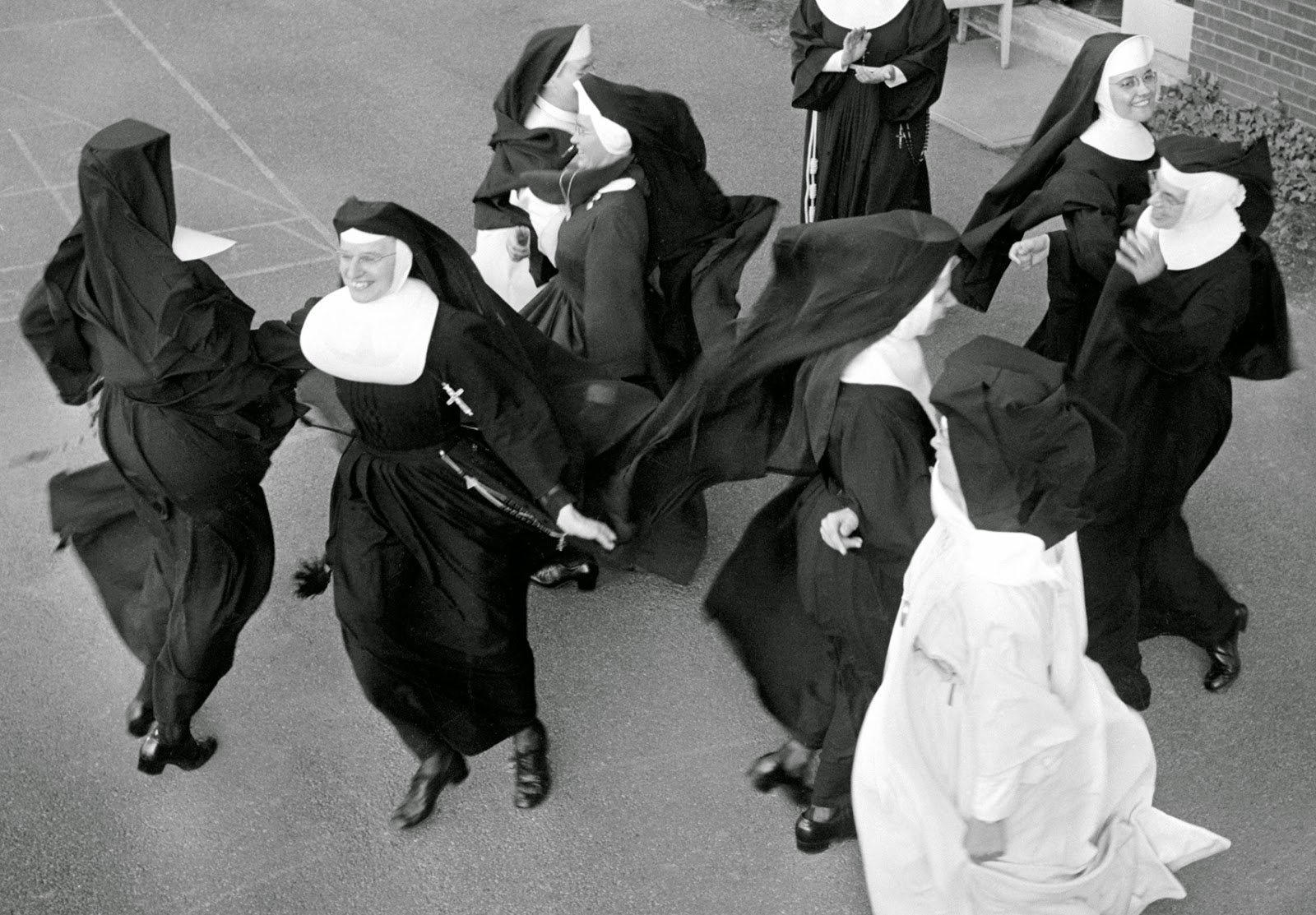 Images of a convent blowjob scene
