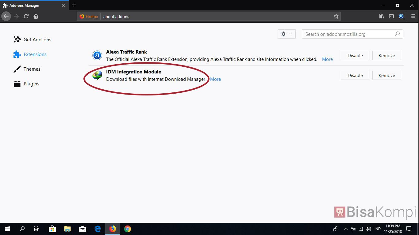 Cara memasang ekstensi IDM di Firefox