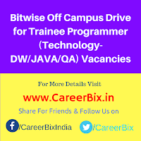 Bitwise Off Campus Drive for Trainee Programmer (Technology- DW/JAVA/QA) Vacancies