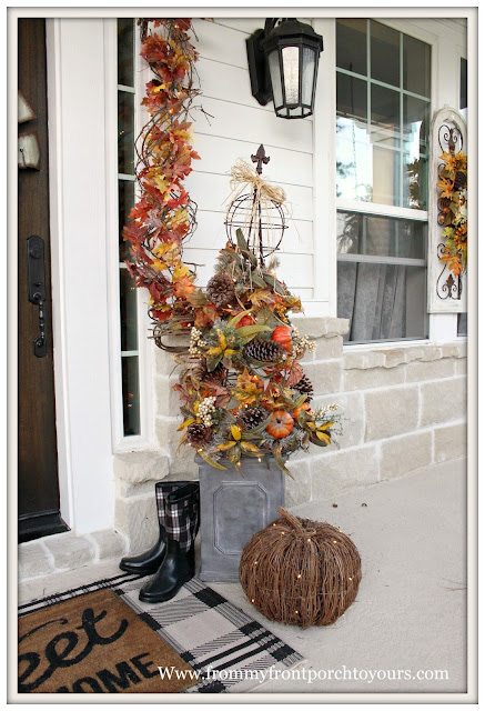Fall Porch Decorations-DIY Topiary-Farmhouse Style Fall Porch-From My Front Porch To yours