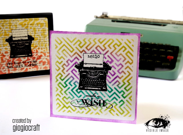 typewriter stamp - stencils - card